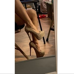 SM embellished Super High  platform heels